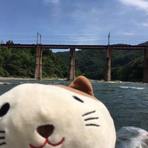 ゴマ 橋を背景に
